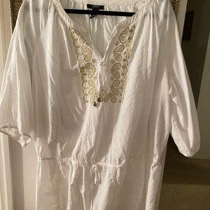 22W white cotton Tunic with gold embellishments